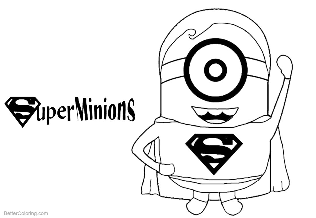 Minion Coloring Pages Super Minions Superman Style - Free Printable ...