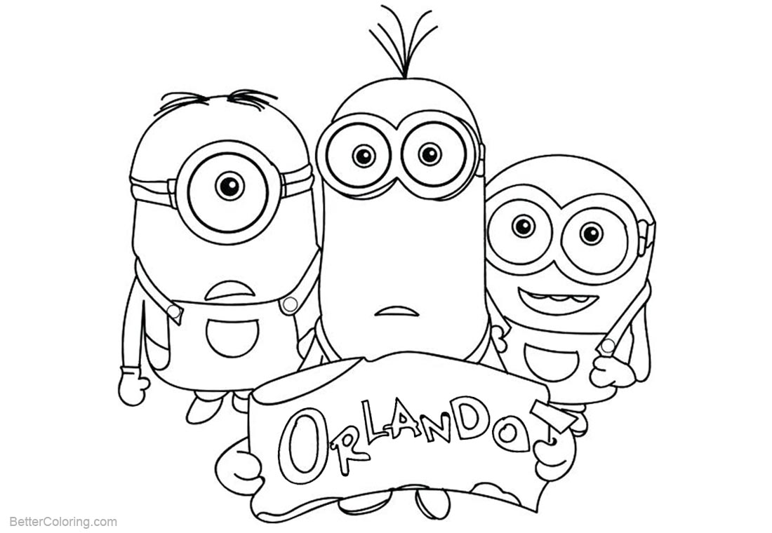 Minion Coloring Pages Take Us to Orlando printable for free