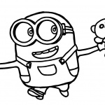 Minion Coloring Pages with A Bear Toys