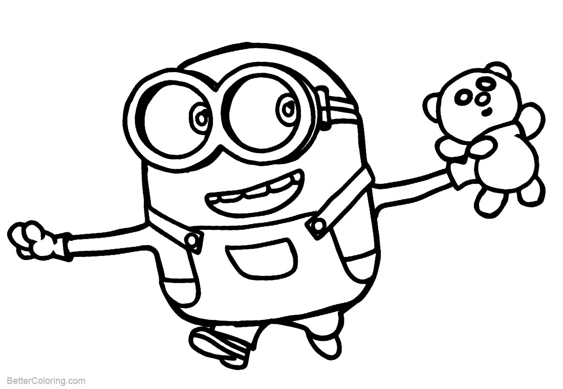 Minion Coloring Pages with A Bear Toys printable for free