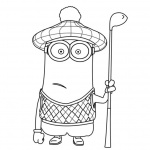 Minion Coloring Pages with A Golf Club