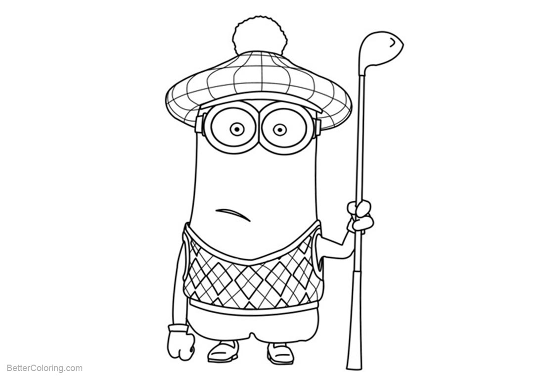 Minion Coloring Pages with A Golf Club printable for free
