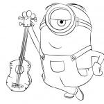 Minion Coloring Pages with A Guitar