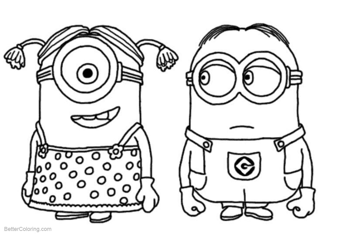 Minion Coloring Pages with The Girl printable for free