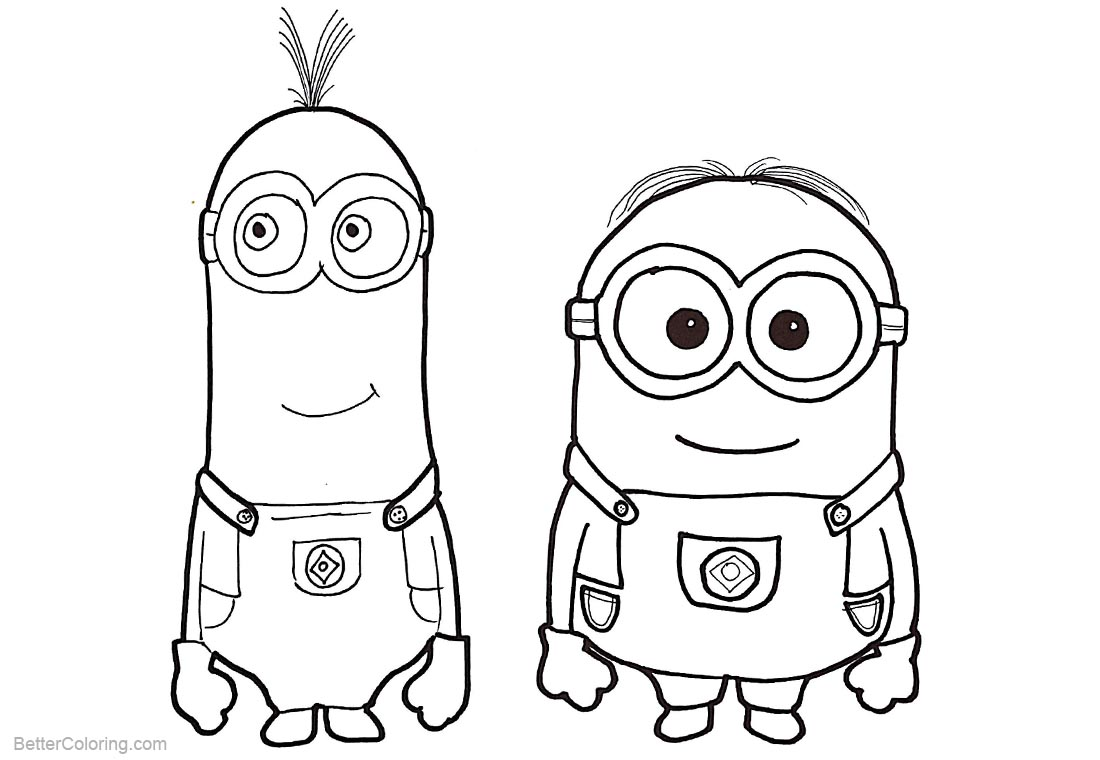 Minion Dave Coloring Pages Characters printable for free