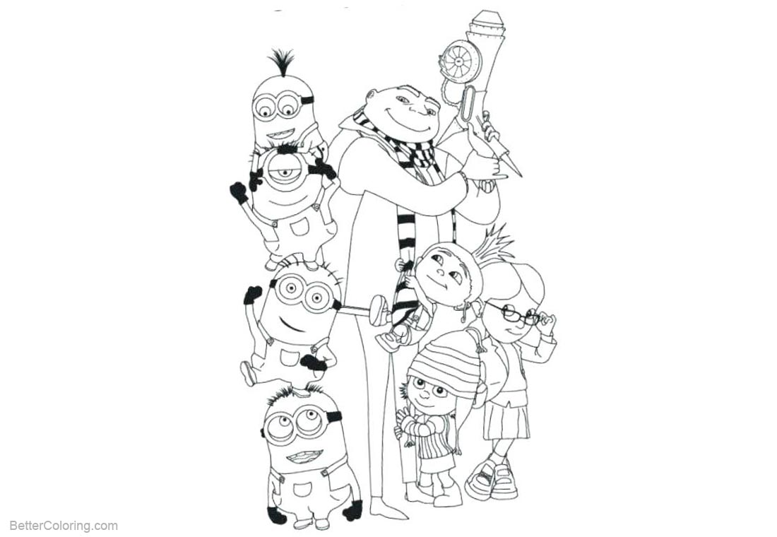 Minion Despicable Me Coloring Pages Characters printable for free