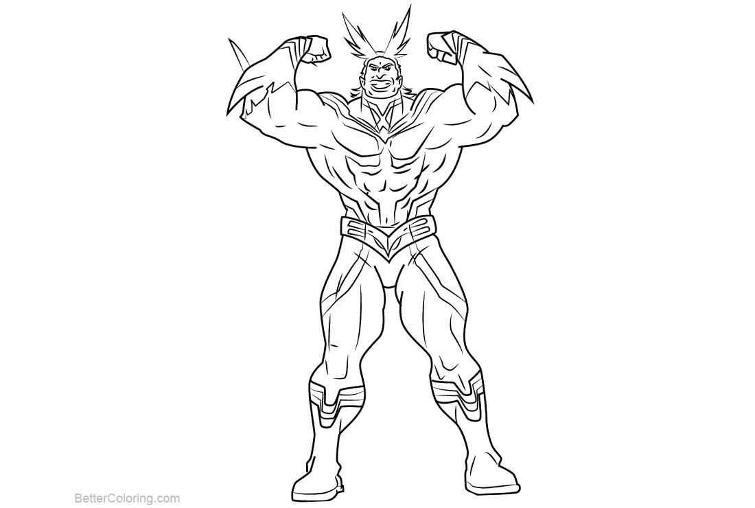 Free My Hero Academia Coloring Pages All Might printable