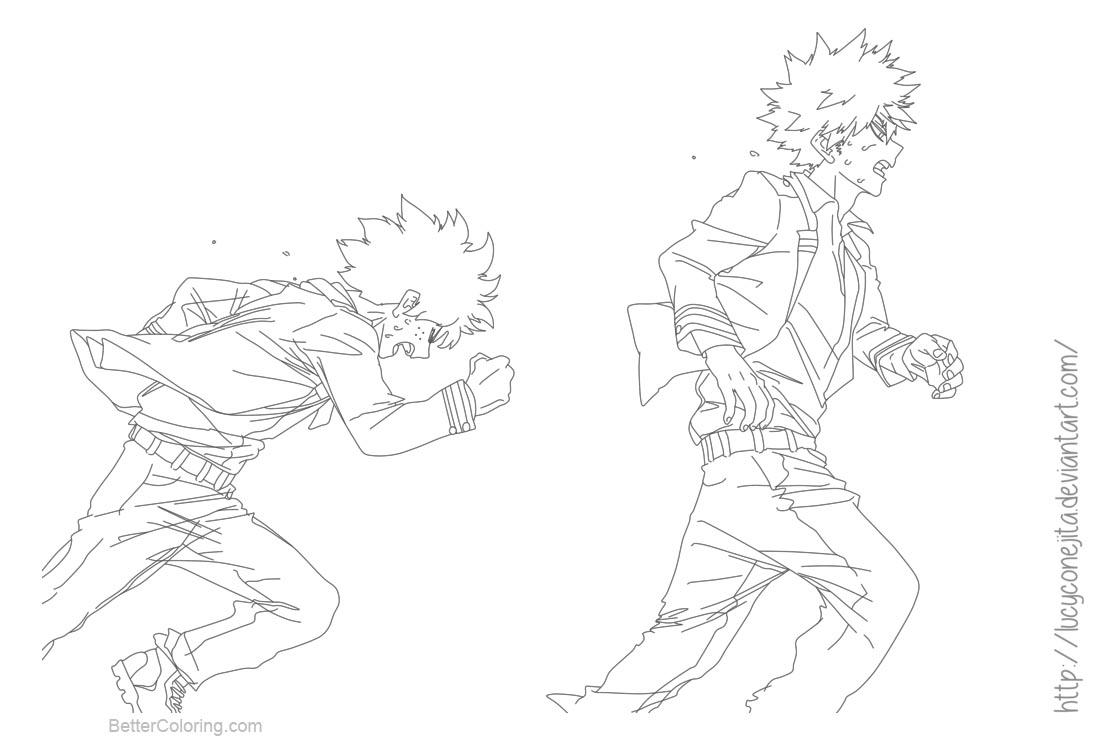 Free My Hero Academia Coloring Pages Bakugou and Deku by lucyconejita printable
