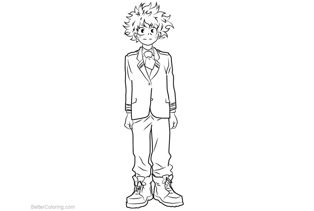 Free My Hero Academia Coloring Pages Izuku Midoriya printable