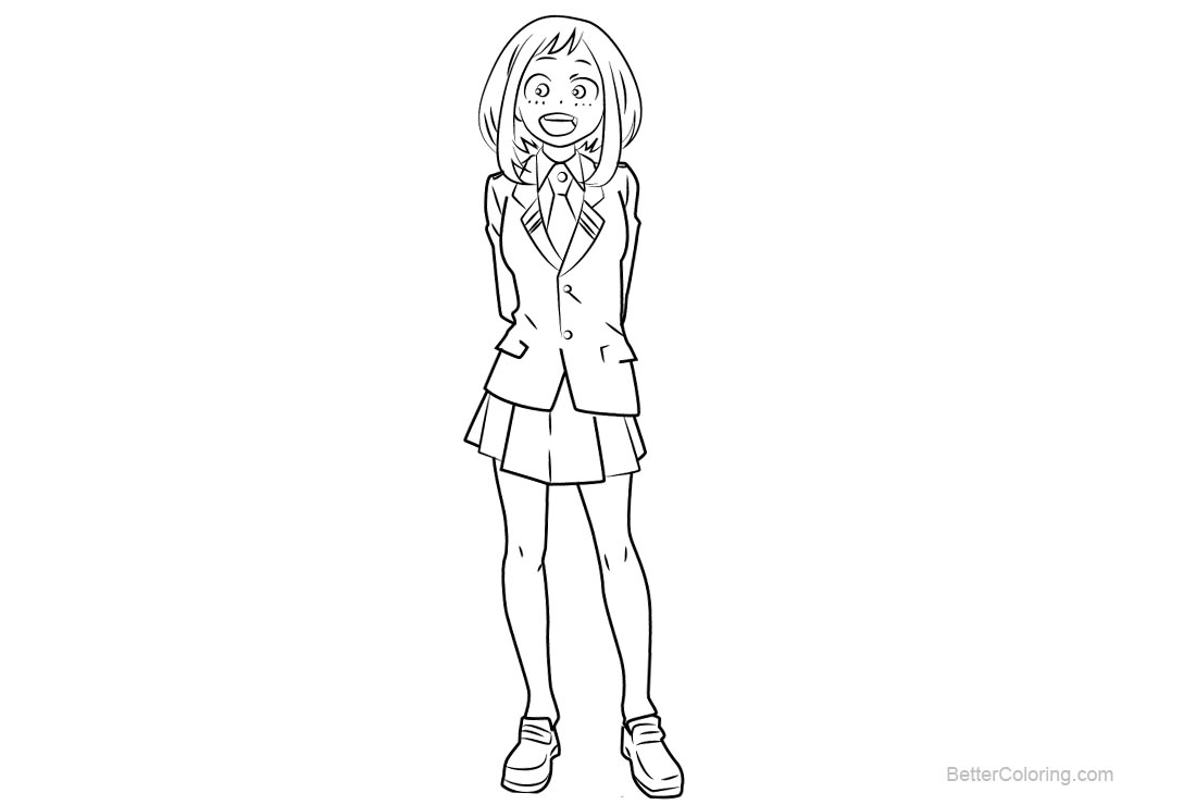 Free My Hero Academia Coloring Pages Ochaco Uraraka printable