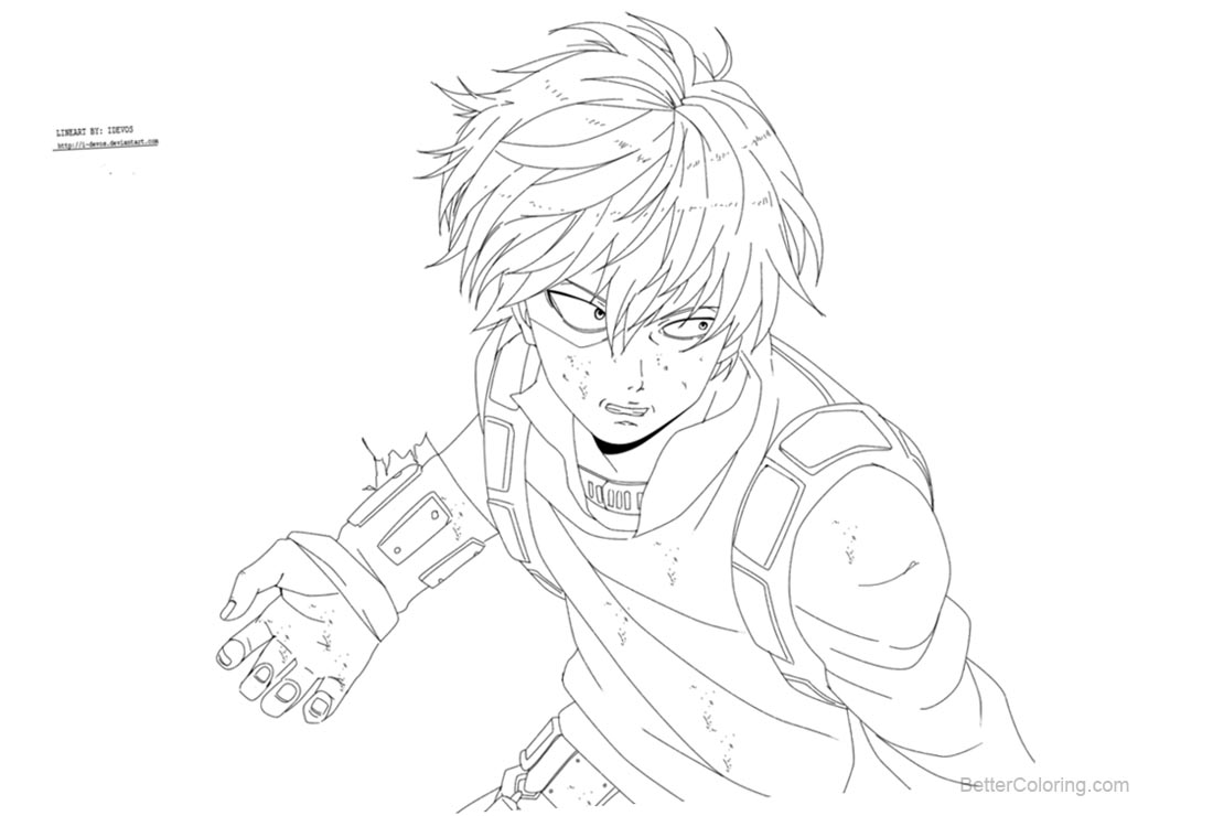 Free My Hero Academia Coloring Pages Todoroki by i devos printable