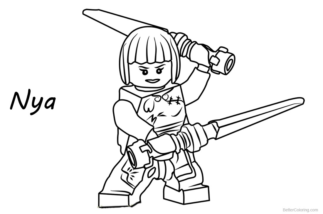 Nya from Lego Ninjago Coloring Pages - Free Printable Coloring Pages