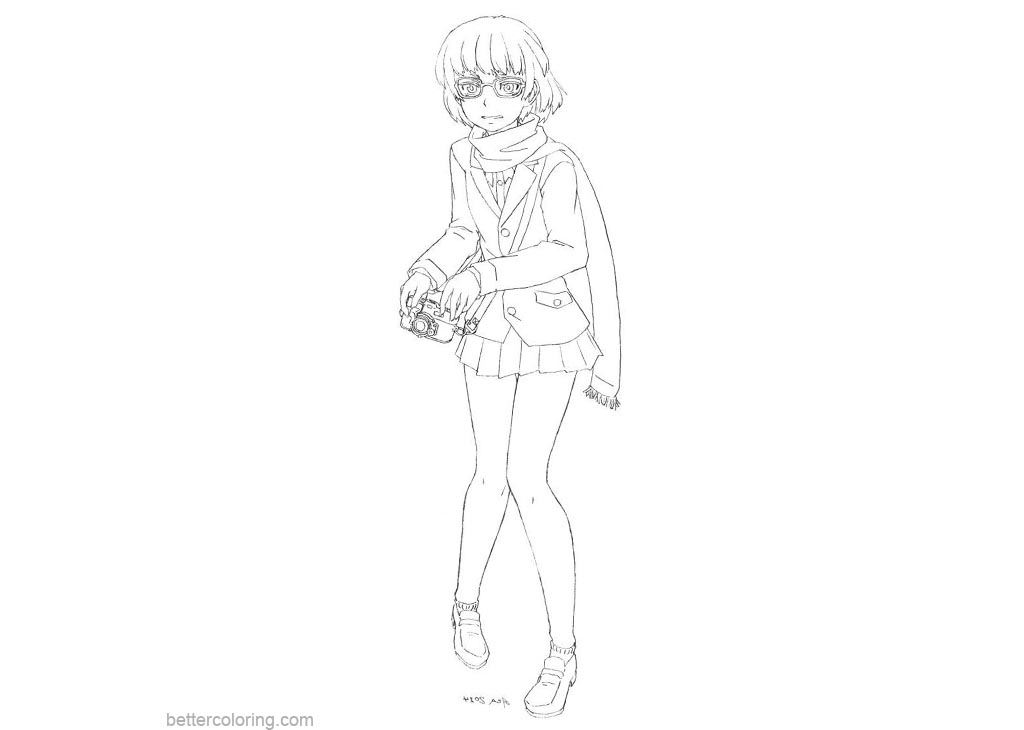 Free Old Info Chan from Yandere Simulator Coloring Pages printable