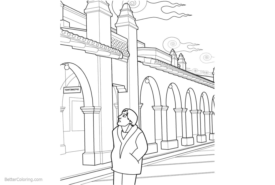 Free Optical Illusion Coloring Pages Building printable