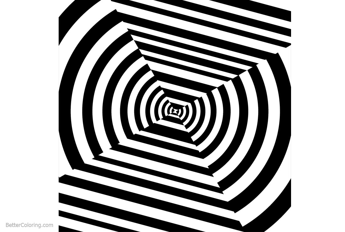 Free Optical Illusion Coloring Pages Clipart printable