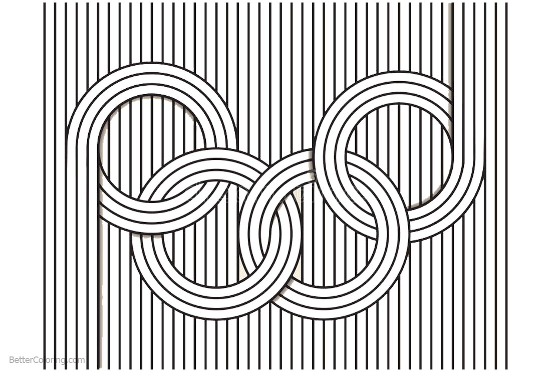 Free Optical Illusion Coloring Pages Olympic Rings printable