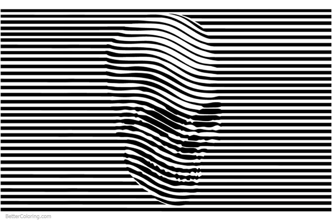 optical illusion coloring pages skulls stripes printable vectors adults