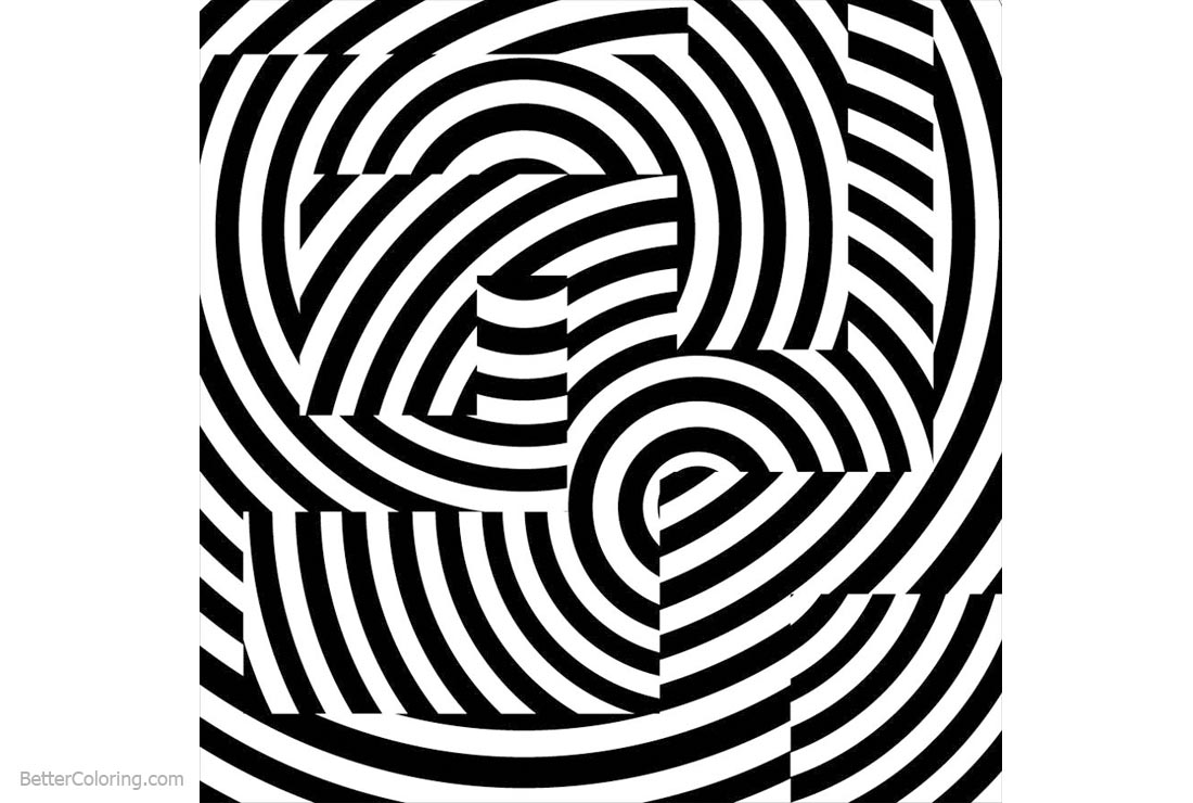 Free Optical Illusion Coloring Pages Trippy printable