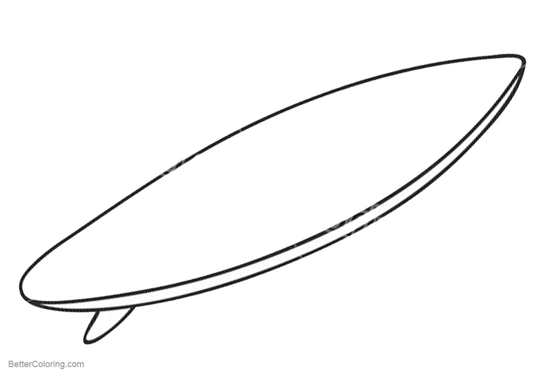 Outlined Surfboard Coloring Pages printable for free