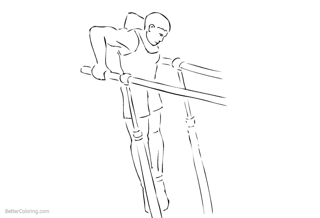 Parallel Bars from Gymnastics Coloring Pages printable for free