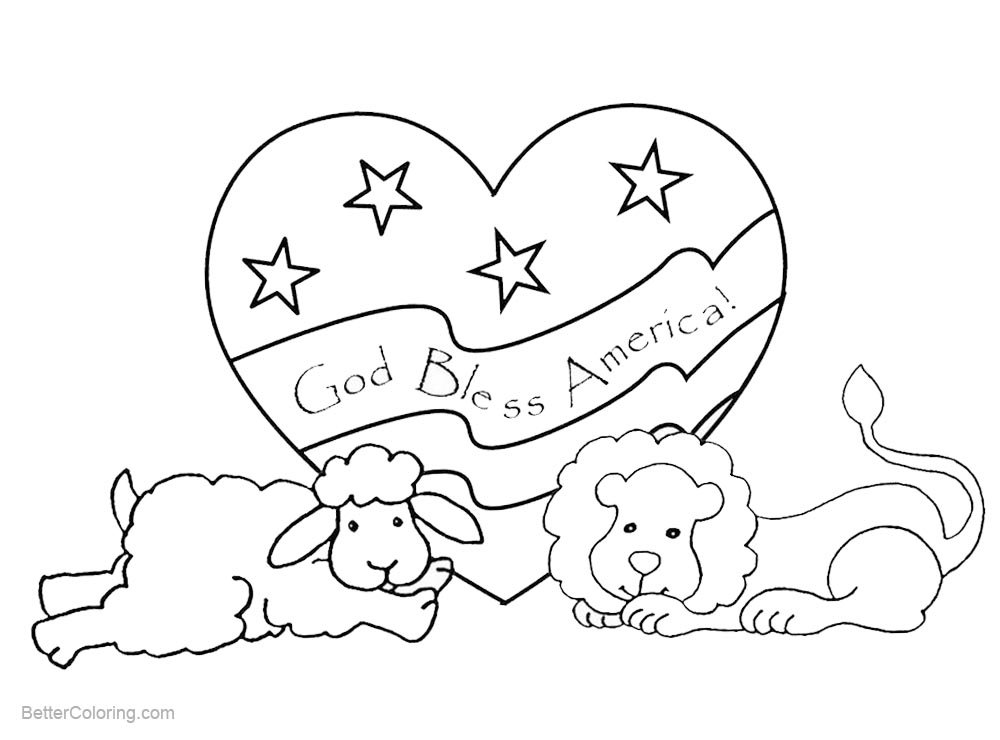 Patriotic Coloring Pages Animals with God Bless America - Free ...