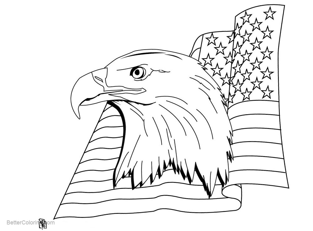 Free Patriotic Coloring Pages Eagle with Flag printable