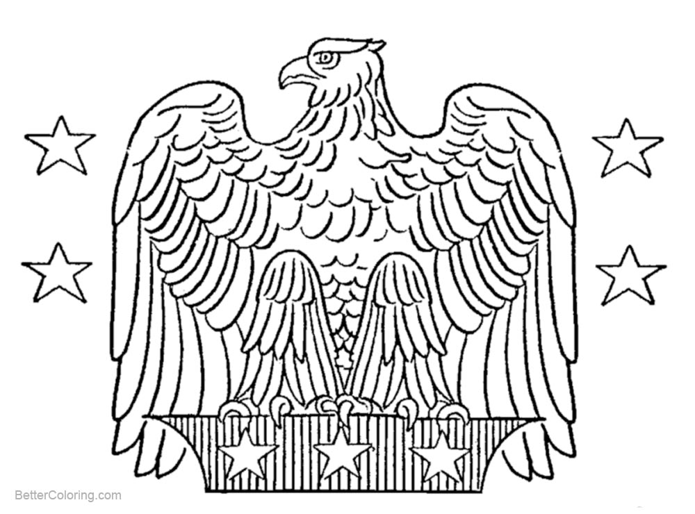 Free Patriotic Coloring Pages Eagle with Stars Line Art printable