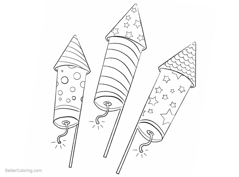 Patriotic Coloring Pages Firework Rocket - Free Printable Coloring Pages