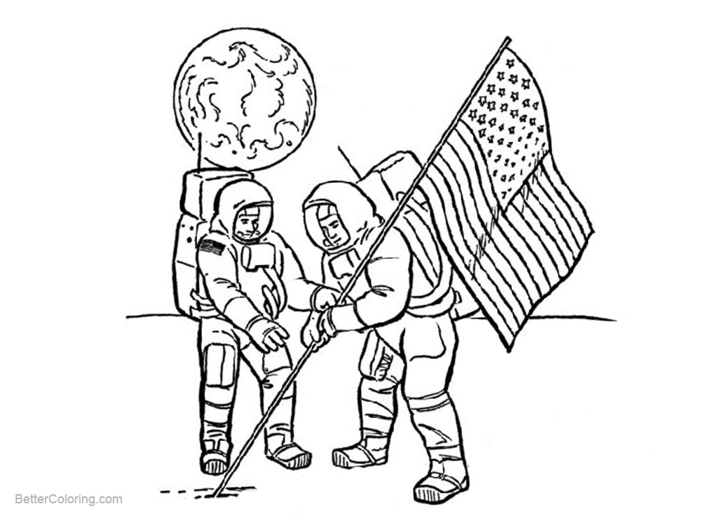 Patriotic Coloring Pages Flag On the Moon - Free Printable Coloring ...