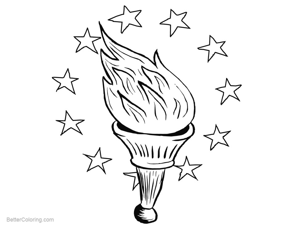 picture about Patriotic Printable Coloring Pages named Patriotic Coloring Webpages Flame and Celebrities - Totally free Printable