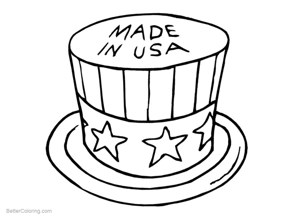 Patriotic Coloring Pages Hat Made in USA - Free Printable Coloring Pages