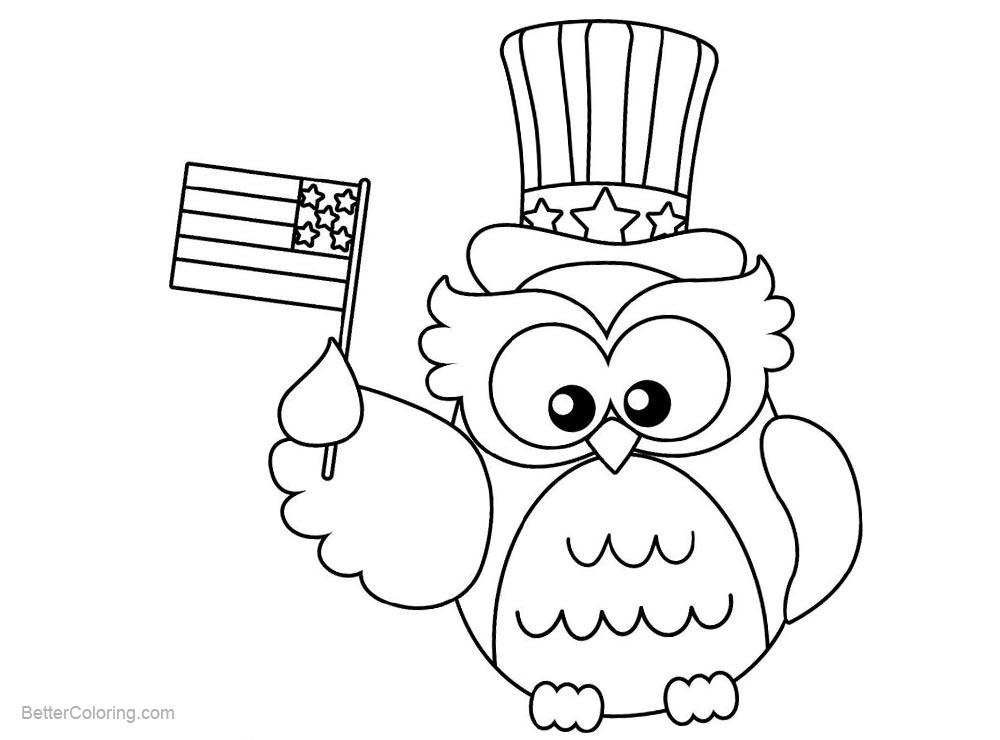 Patriotic Coloring Pages Owl with Flag - Free Printable Coloring Pages