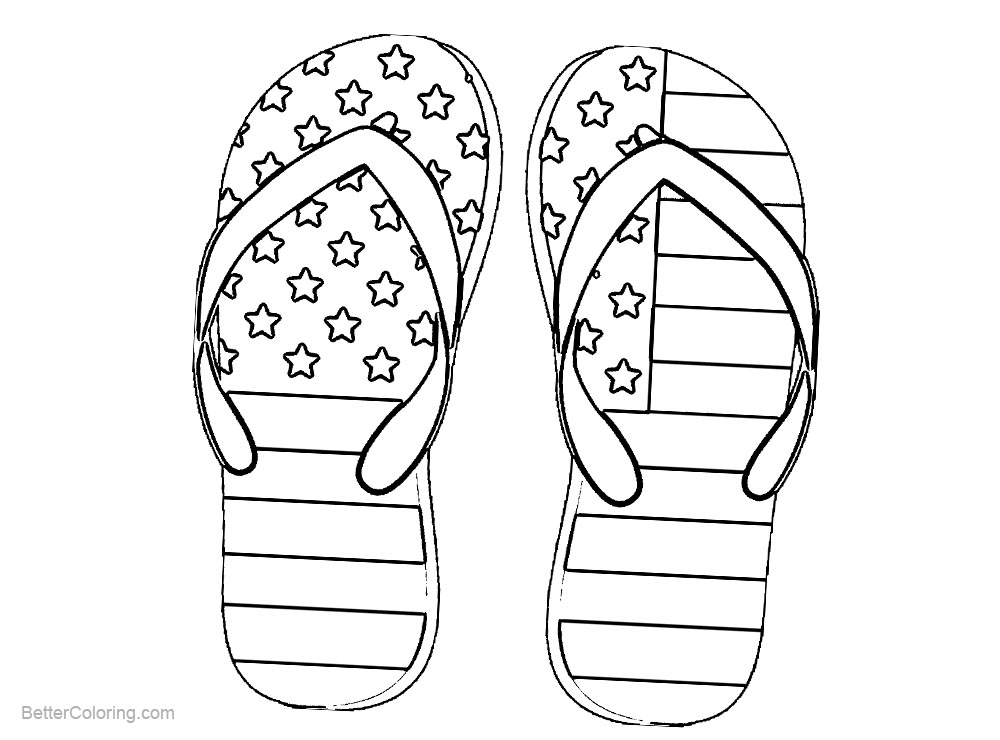 Free Patriotic Coloring Pages Shoes with Flag Pattern printable