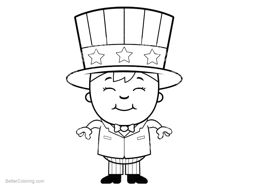 Patriotic Coloring Pages Smile Boy - Free Printable Coloring Pages