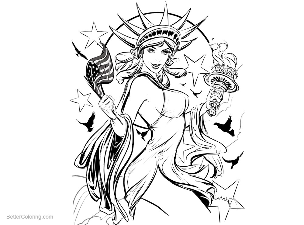 Free Patriotic Coloring Pages Statue of Liberty Sketch Drawing printable