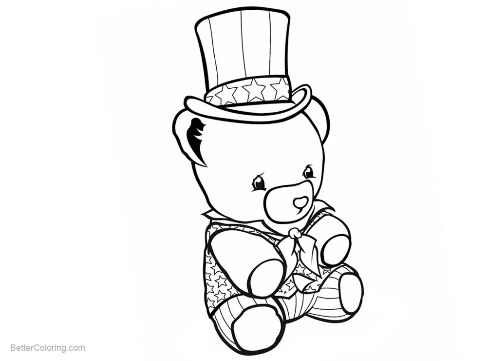image regarding Patriotic Coloring Pages Printable titled Patriotic Coloring Internet pages Teddy Endure with Hat - Absolutely free