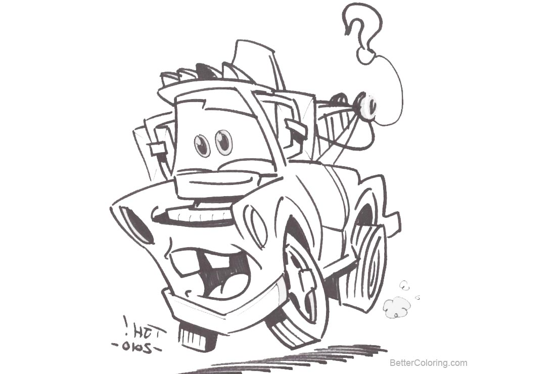 Free Pixar Cars Coloring Pages Mater Travis Hill printable
