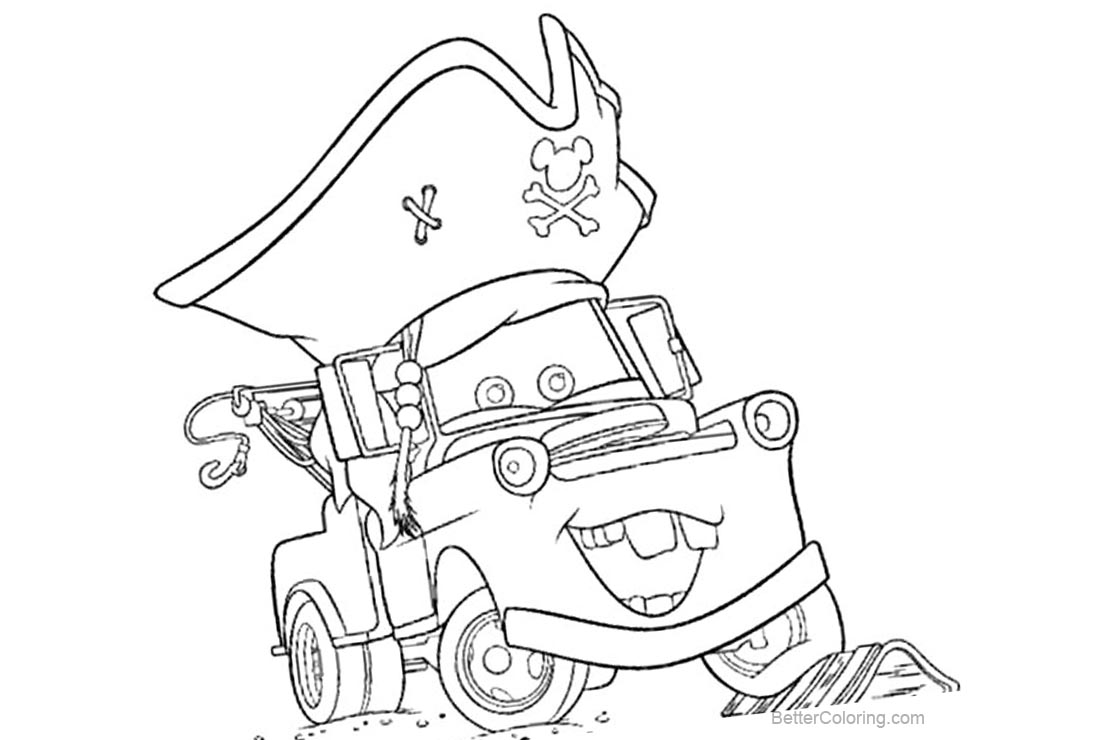 Pixar Cars Coloring Pages With Pirate Hat Free Printable Coloring