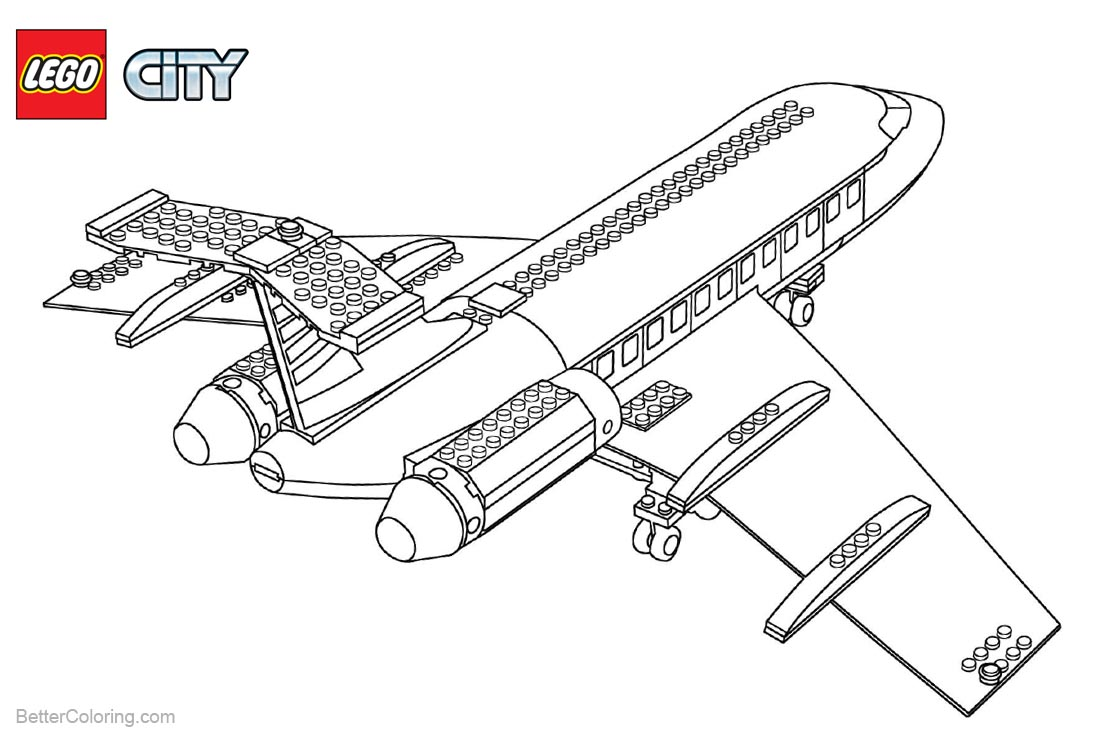 Plane from Lego City Coloring Pages - Free Printable Coloring Pages