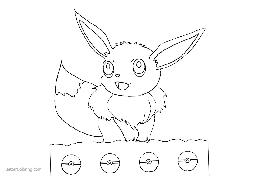 Pokemon Coloring Pages Eevee printable for free