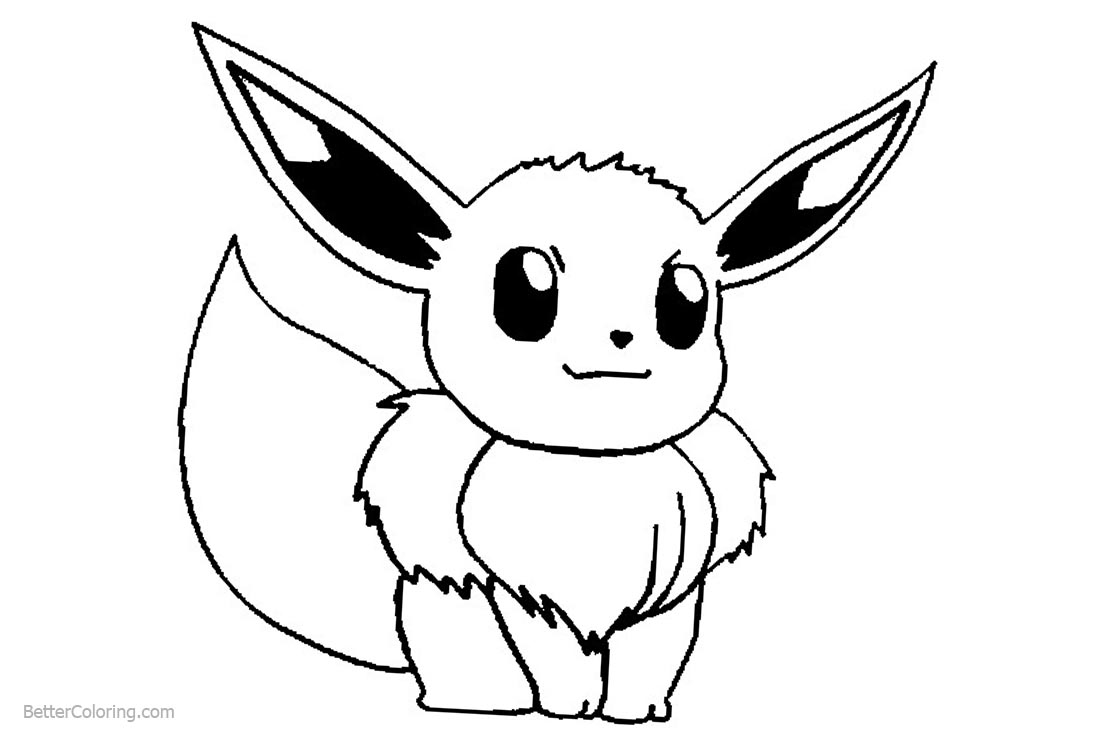 Pokemon Eevee Coloring Pages Line Drawing Free Printable