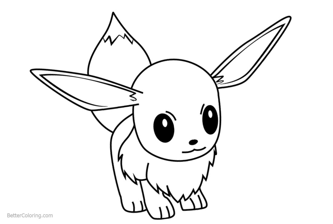 Pokemon Eevee Coloring Pages Free Printable Coloring Pages