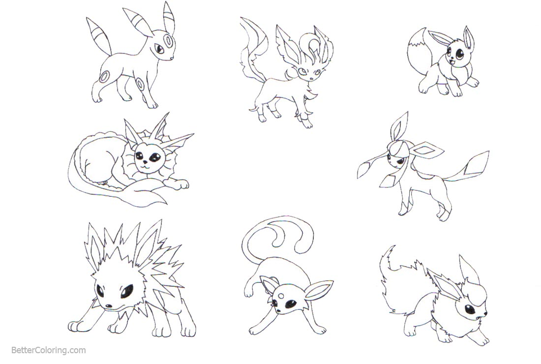 Pokemon Eevee Evolutions Coloring Pages printable for free