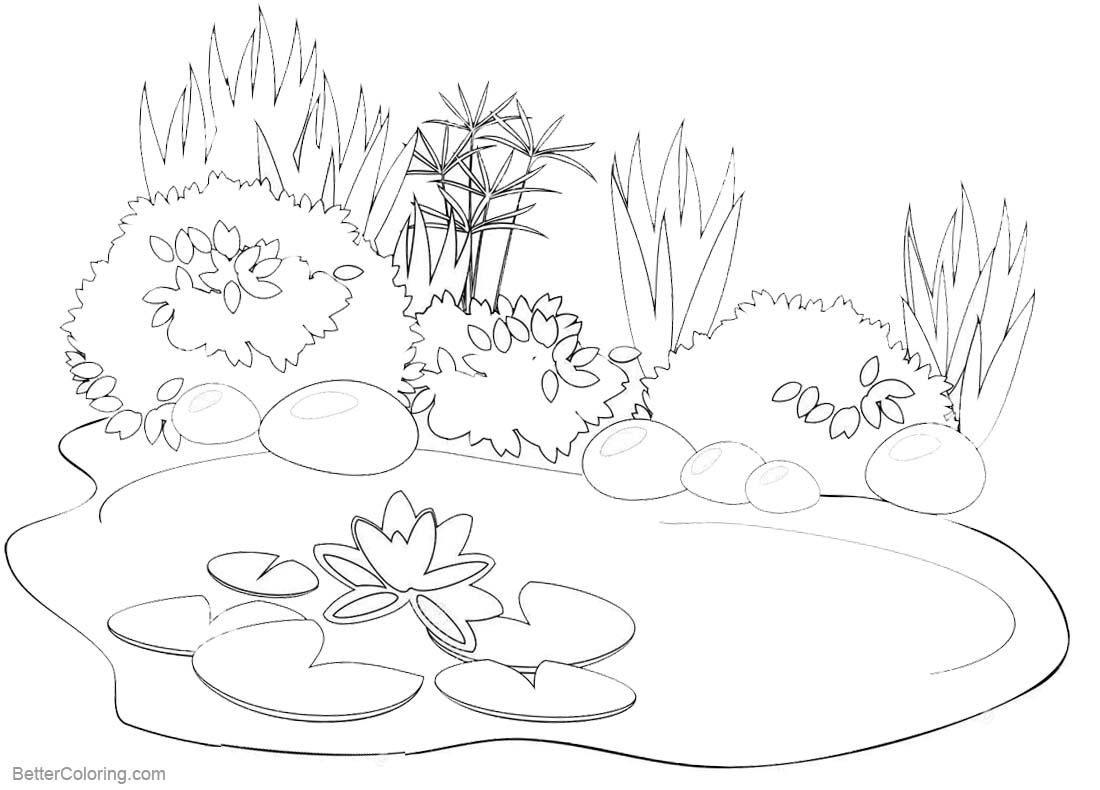 pond coloring pages | Pond Coloring Pages Black and White Drawing - Free ...