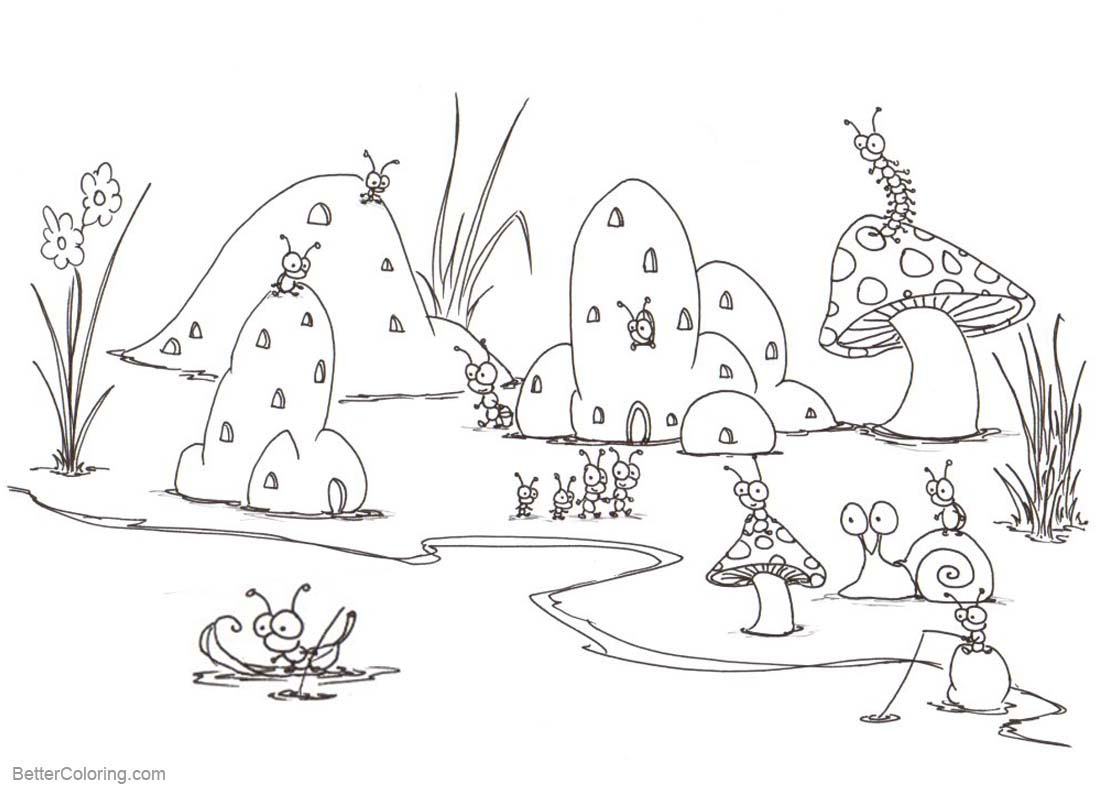 Pond Coloring Pages Bugs Life - Free Printable Coloring Pages