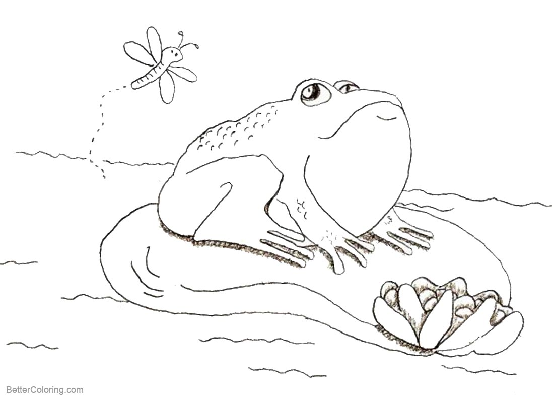 Pond Coloring Pages Cute Frog printable for free