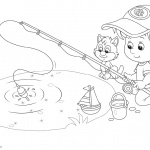 Pond Coloring Pages Fishing