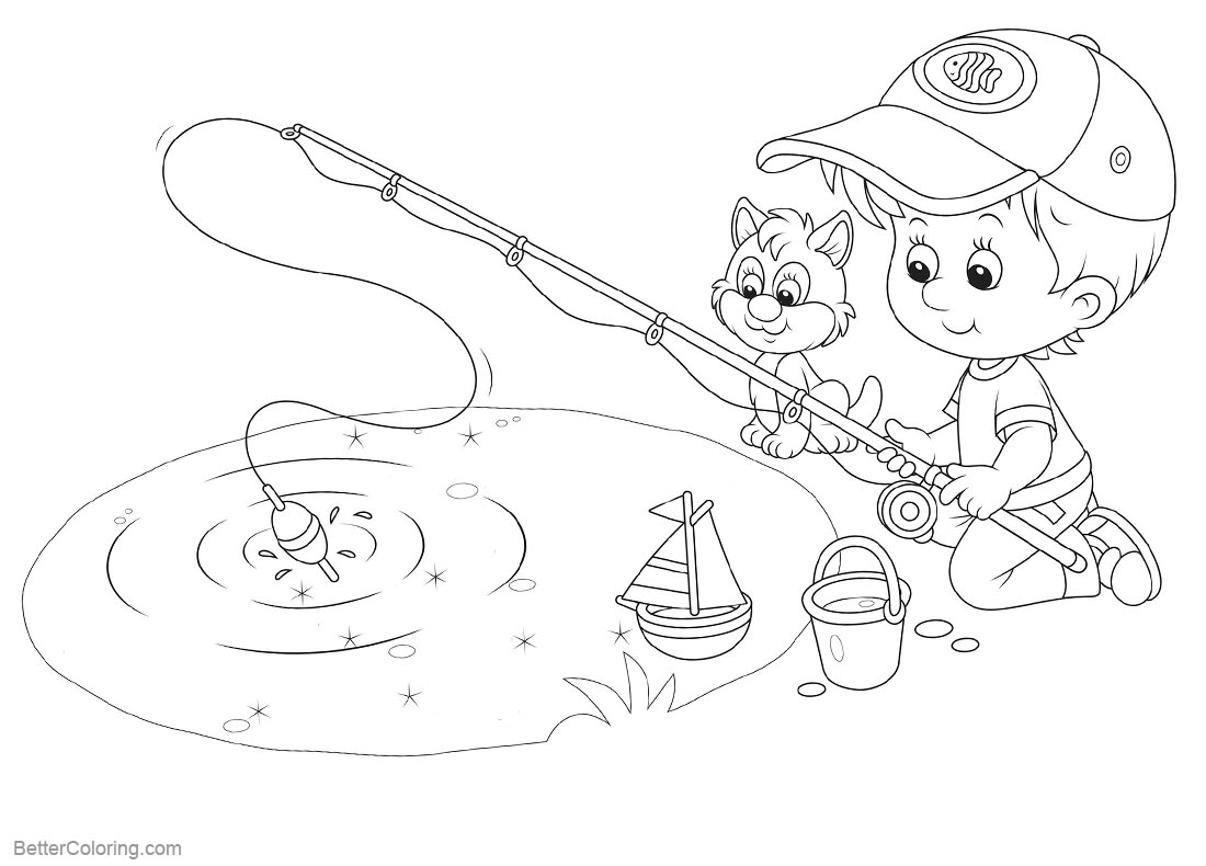 Pond Coloring Pages Fishing printable for free
