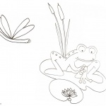 Pond Coloring Pages Frog Cattails and Dragonfly