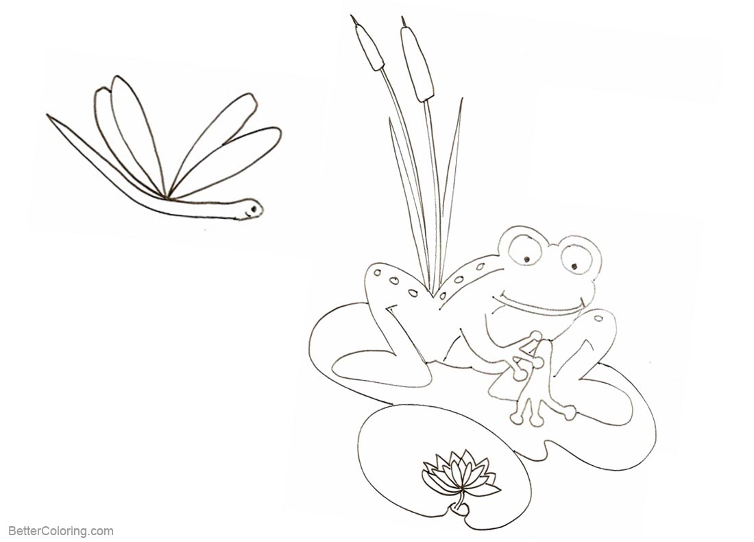 Pond Coloring Pages Frog Cattails and Dragonfly printable for free